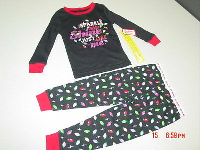 NWT InFant Toddler 2 piece Pajamas Christmas Theme Holiday Glitter Cute