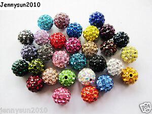 10Pcs-Czech-Crystal-Rhinestones-Pave-Clay-Half-Drilled-Disco-Round-Ball-Beads