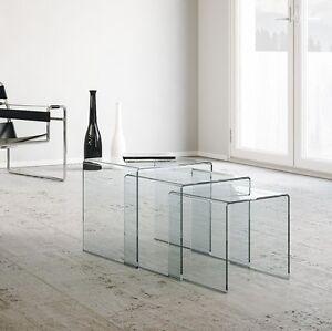 Dettagli su Tavolino da salotto Nest - Set 3 tavolini, trittico, vetro  curvato, soggiorno