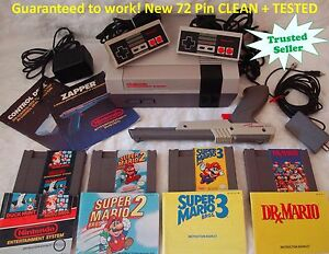 Nintendo NES ORIGINAL Console Bundle 4 Games Super Mario 1 2 3 -- ALL BOOKLETS