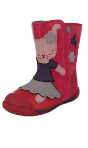 CLARKS-Nibbles-Pink-Berry-Iva-Friend-First-Boots-Leather-Suede-Rabbit-Bunny-4F