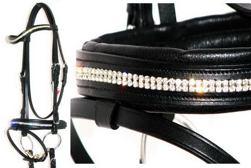 FSS GLOW 2 row Clear Crystal BLING German Comfort Padded Flash Cavesson Bridle
