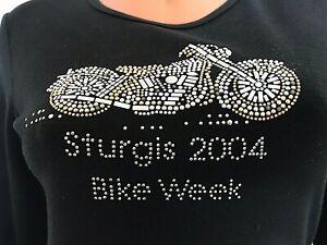Womens-HARLEY-BIKER-STURGIS-vintage-2004-T-shirt-Bling-Beads-Black-Silver-M-L