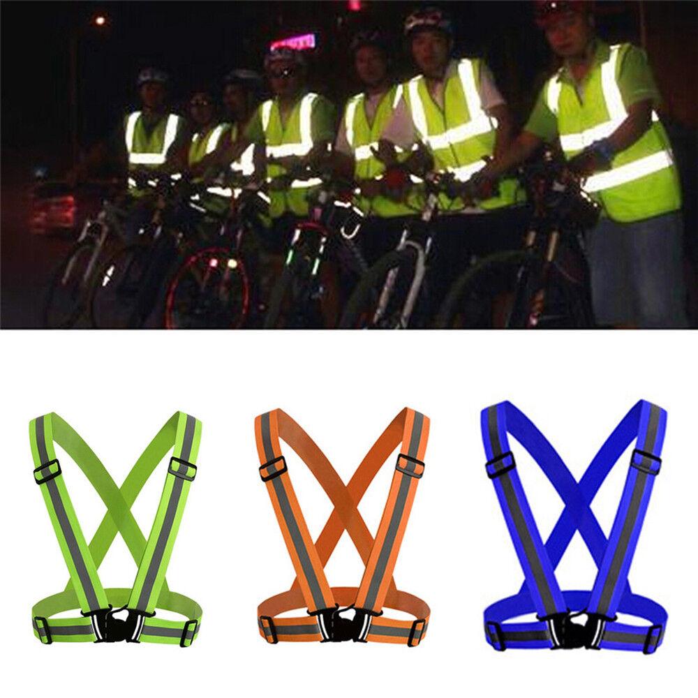 Safety Reflective Vest Belt Stripe Straps LED Light Night Running Jogging Biking