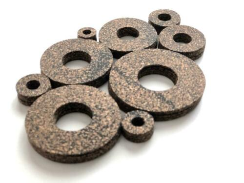Cork Washers Assortment of USS Sizes 1//8 Inch Thickness