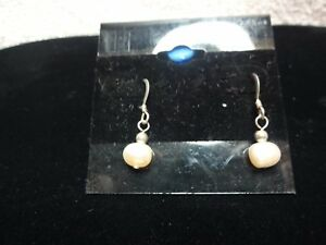 Image Is Loading Sterling Silver Golden Pink Fresh Water Pearl Earrings