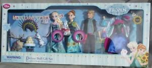Ensemble De Luxe Poupées Elsa Anna Kristoff Fête D'anniversaire D'Olf Swen Disney Store Poupée