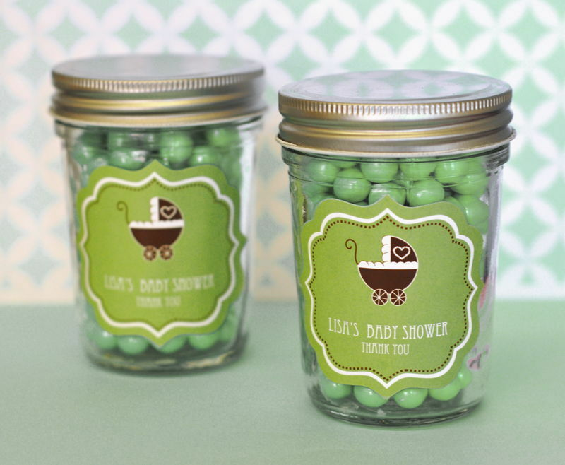 48 Personalized vert Baby Theme Mini Mason Jars Baby Shower Favors