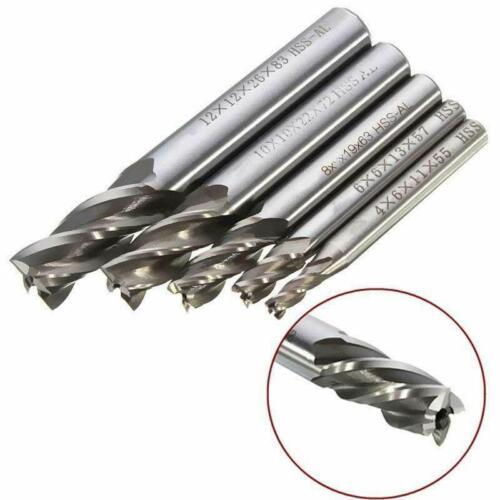 4mm-8mm HSS-AL CNC Straight Shank 4 Flute End Mill Cutter Drill Bit Tool