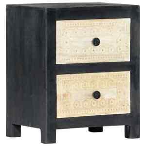 vidaXL-Solid-Mango-Wood-Hand-Carved-Bedside-Cabinet-Grey-40x30x50cm-Storage