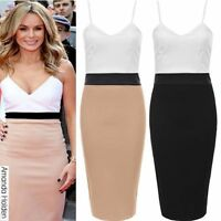 Womens Celeb Inspired Optical Bodycon Panel Contrast Panel Slimming Effect Dress