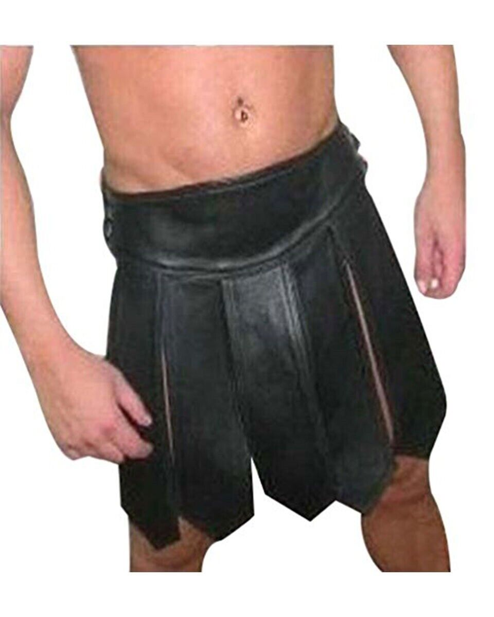 Men Gladiator Kilt Sexy Real Black LEATHER GAY Clubwear LARP