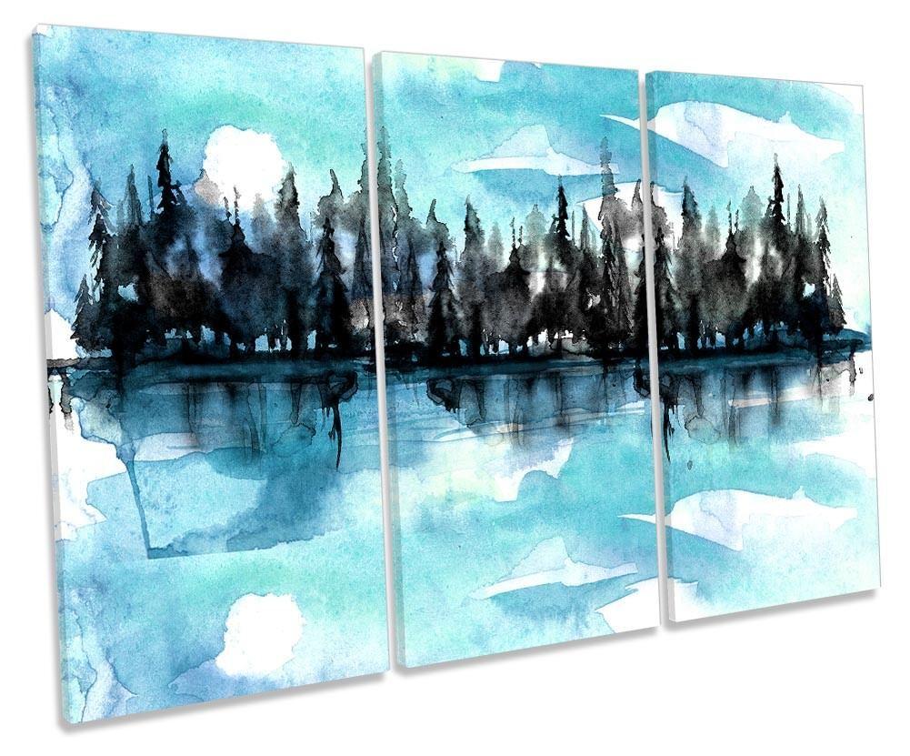 Forest River alberi ad acquerello incorniciato incorniciato incorniciato Treble stampa art. a muro 6b0352
