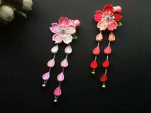 Handmade-Hairpin-Tsumami-Zaiku-Kanzashi-Sakura-Flower-Tassel-for-Kimono-Hanfu