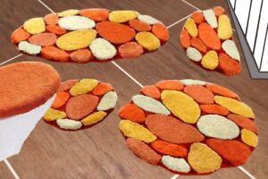 Badematte Terra Orange Gelb Bad Teppich Bad Garnitur Duschmatte