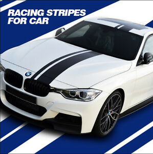 Pc Black White Blue Racing Stripes Car Sticker Auto Decal - Bmw racing stripes decals