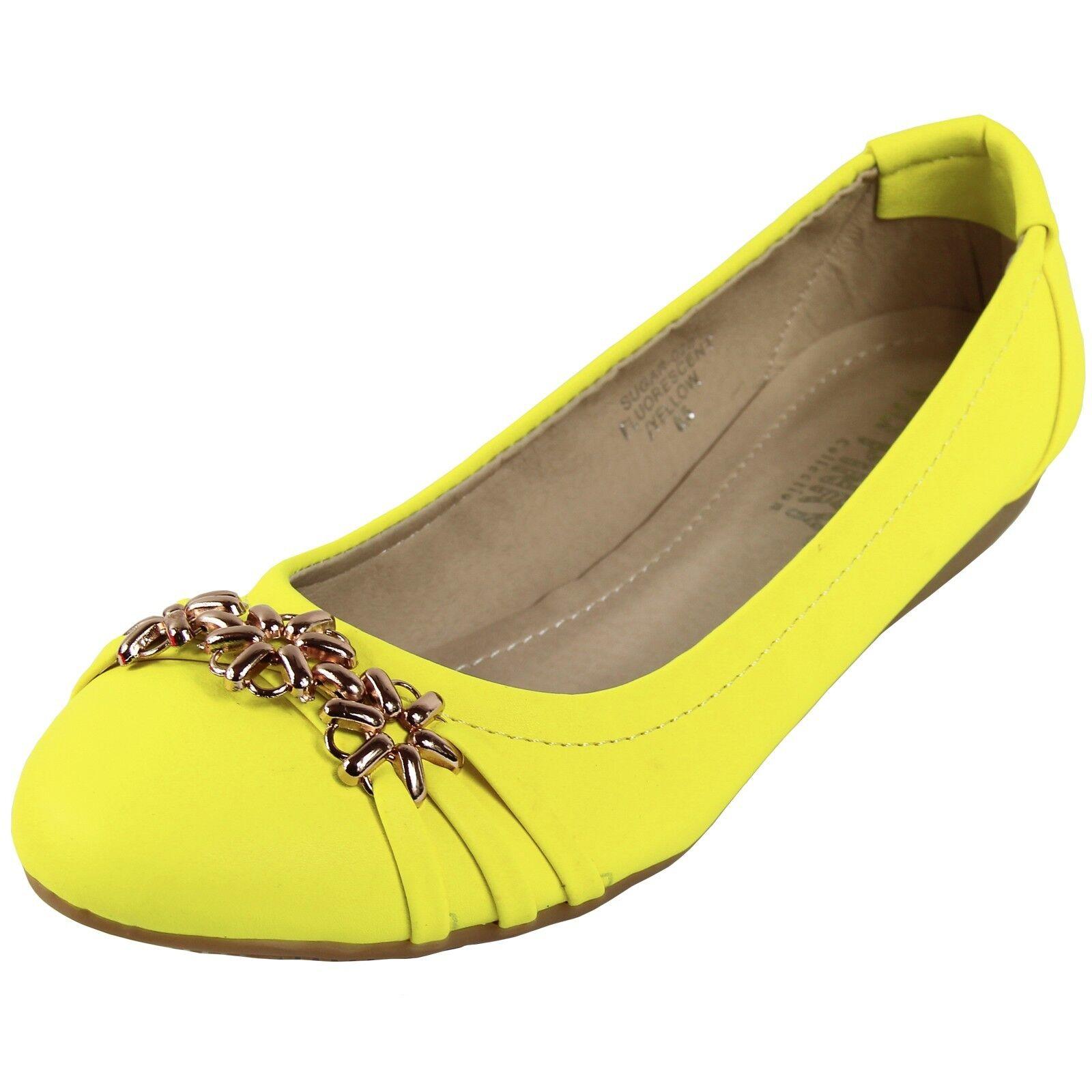 de nouvelles chaussures pour femme femme femme travail occasionnel ballet flat ballerine synthétique jaune néon 2c8521