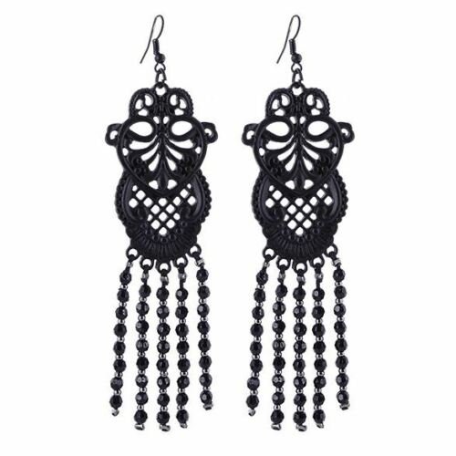 Restyle Lace Pattern Bead Matte Black Occult Witch Drop Earrings 10cm
