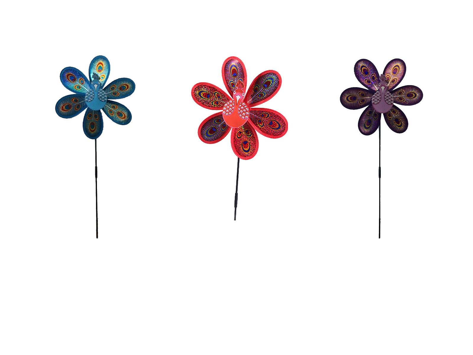 2 x Holographic Peacock Windmill Pinwheel Wind Spinner Lawn Garden Decor kids