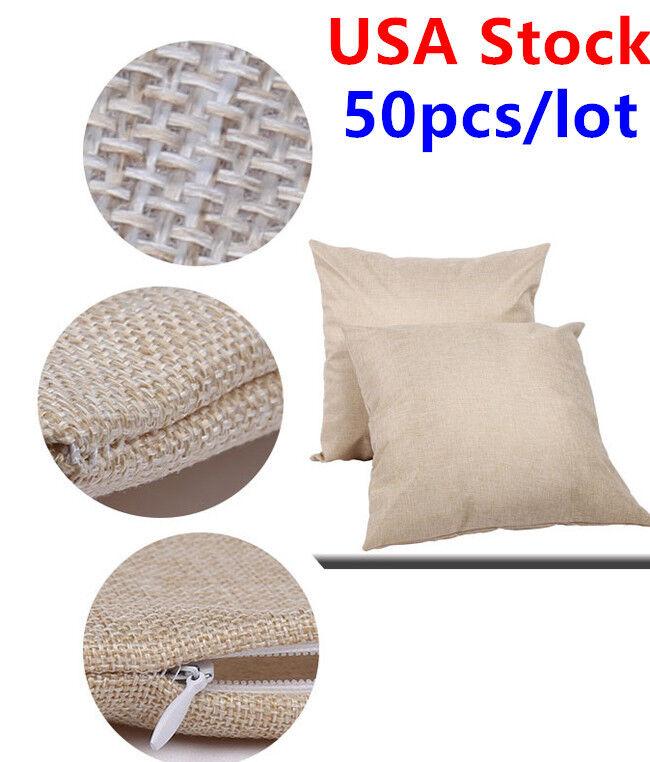 50PCS Linen Sublimation Square Throw Pillow Case Blank Pillow Case Cushion Cover