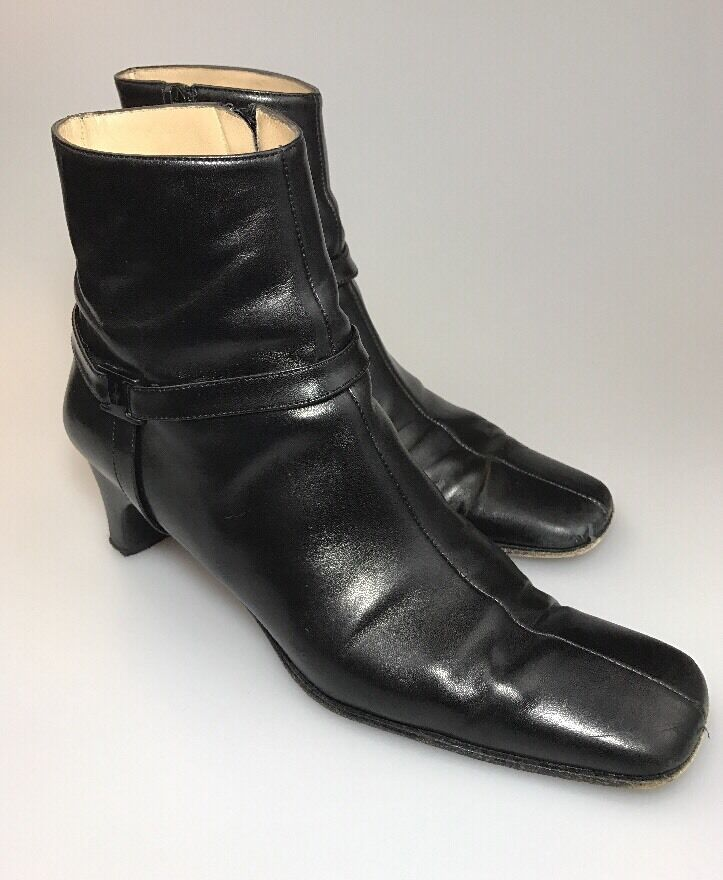 Salvatore Ferragamo Boutique tobillo botas negro cuero tamaño 7.5 AAAA AAAA AAAA Cremallera Lateral  venta mundialmente famosa en línea