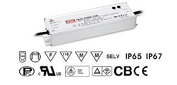 LED Trafo - Netzteil 151W 6,3A - 24V DC wasserfest MEAN WELL (HLG-150H-24A) IP65