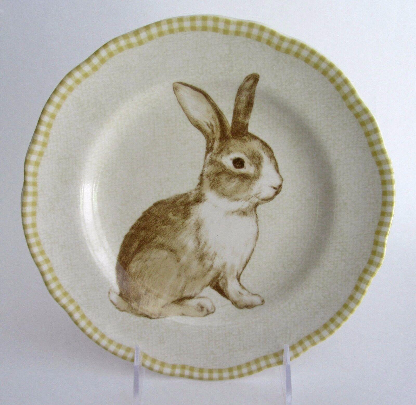 222 Fifth BUNNY LAND Salad Plates Rabbit Easter Gingham Borders SET-4 NEW