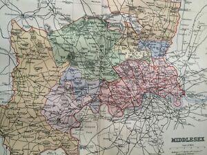 Map Of England Vintage.1895 Middlesex Original Antique Map Uk England Vintage Old County Ebay
