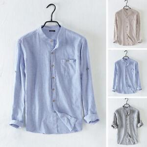Retro-Men-039-s-Holiday-Shirts-Long-Sleeve-Linen-Collarless-Grandad-Striped-Shirt-UK