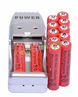 12x Aaa 3a 1800mah1.2v Nimh Rechargeable Battery Red+usb Charger