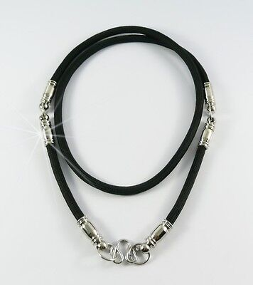 Men's Sturdy Black Thai Silk Cord W// S//S Fitting  Necklace 26 inch for 3 Amulets