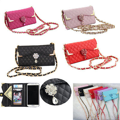 Bling Wristlet handbag Leather Wallet Case For Samsung S3 S4 S5 S6 Edge Note 4 3