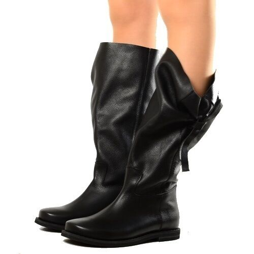 Bottes Femmes Cuir Souple Boots Chaussures Bottines Noir Chunky Boots Boots Chunky Imbuto 758685