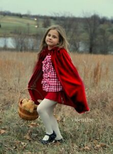 New-Girl-Child-warm-CAPE-hooded-princess-winter-Christmas-cape