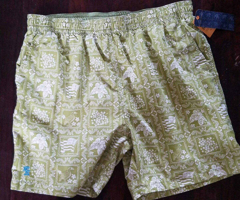 NEW REYN SPOONER LAHAINA SAIL LIME GREEN MENS HAWAIIAN SWIM TRUNKS XL