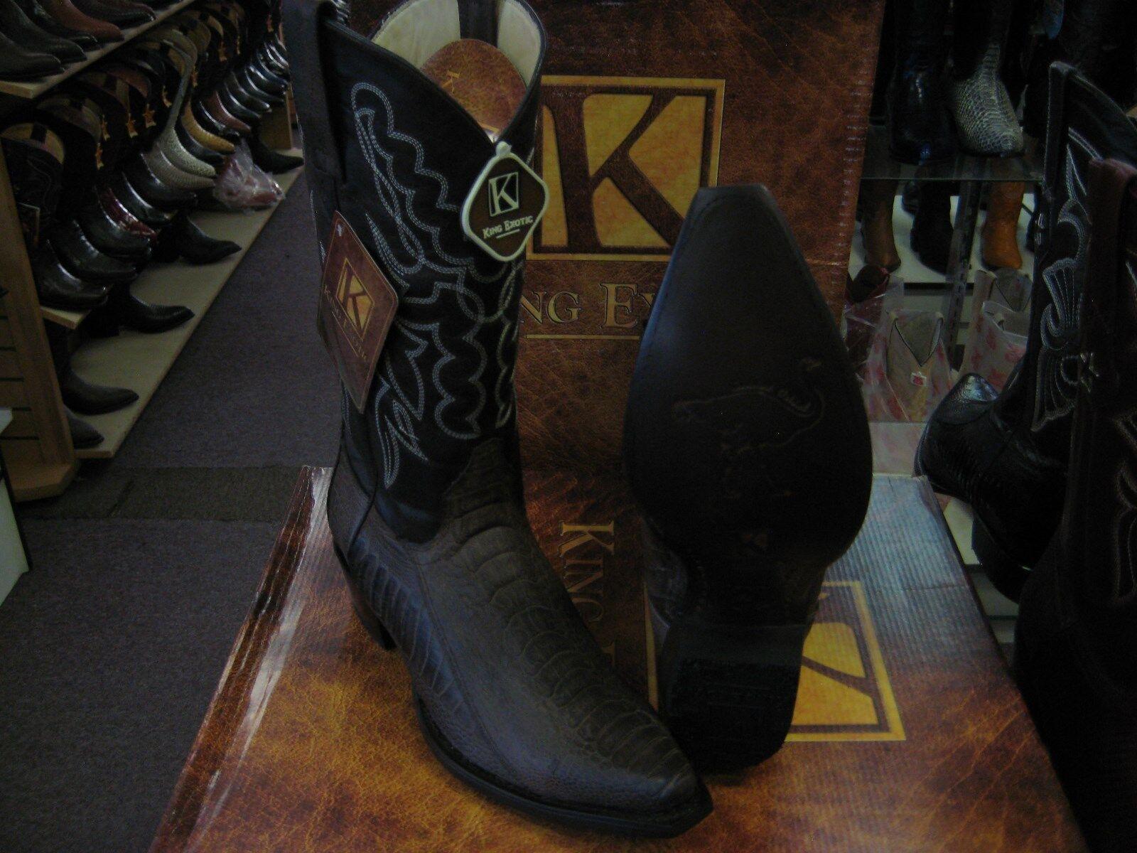KING EXOTIC BROWN SNIP TOE GENUINE OSTRICH LEG WESTERN COWBOY BOOT EE 94G0507