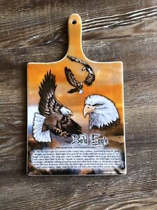 Vintage-Ceramic-Wall-Art-Trivet-Bald-Eagle-Mountains-Sunset-With-Eagle-Facts
