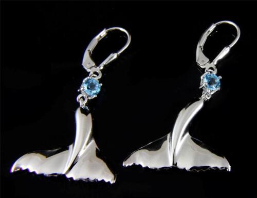 GENUINE BLUE TOPAZ SILVER 925 HAWAIIAN WHALE TAIL LEVERBACK EARRINGS