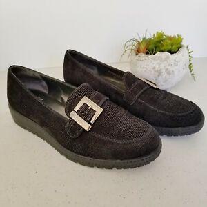 Stuart-Weitzman-Loafers-Wedge-Buckle-Work-Comfort-Size-8-5-M-Black-Shoes-Spain