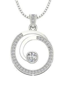 Circle-Pendant-Necklace-SI1-G-1-10-Ct-Round-Diamond-14k-White-Yellow-Rose-Gold