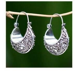 Tibetan-Carving-Woman-925-Silver-Pendant-Hoop-Birthday-Jewelry-Earrings-Popular