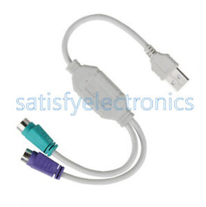 Dual PS2 Female to USB Male Converter Adaptor Cable F//M for Mouse Keyboard