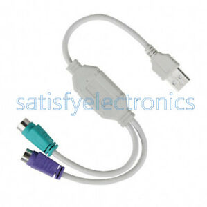 Dual PS2 Female to USB Male Converter Adaptor Cable F//M for Mouse Keyboard US