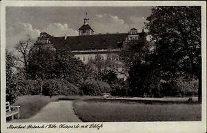 Moorbad-Pretzsch-Elbe-DDR-s-w-AK-1950-60-Partie-im-Kurpark-mit-Blick-auf-Schloss
