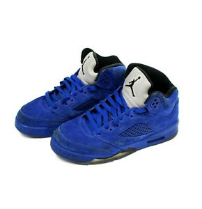 US-SIZE-4-5Y-Nike-Air-Jordan-Retro-5-V-Royal-Blue-Suede-Black-GS-440888-401