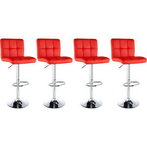 Incredible Details About Set Of 4 Counter Height Pu Leather Bar Stools Adjustable Swivel Pub Chairs Red Gmtry Best Dining Table And Chair Ideas Images Gmtryco