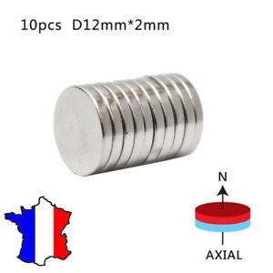 Lot 10 Aimants Neodyme Neodium Disque Rond Super Magnet N50 12mm x 1mm de France