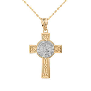 14k two tone gold st michael pray for us celtic heart cross pendant image is loading 14k two tone gold st michael pray for mozeypictures Image collections