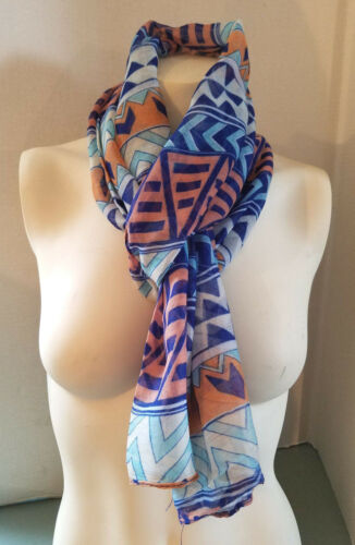 New Women/'s Long Scarf By Icon Multi Color Navy Salmon Turqoise All Seasons