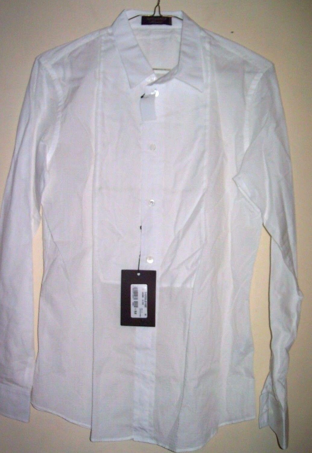 Weiß Tux hemd Größe groß Made in  Expensive VIKTOR&ROLF Dual Raised Print
